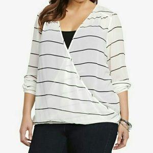 Torrid Long Sleeve Striped Blouse
